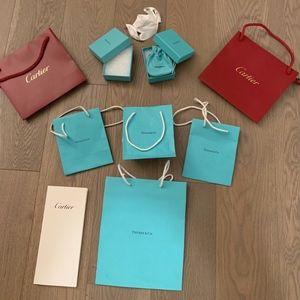 Cartier & Tiffany & Co. Blue Jewelry Gift Boxes